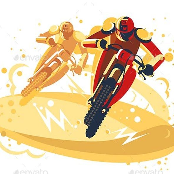 Motocross Riders Taking Part in Riding Competition