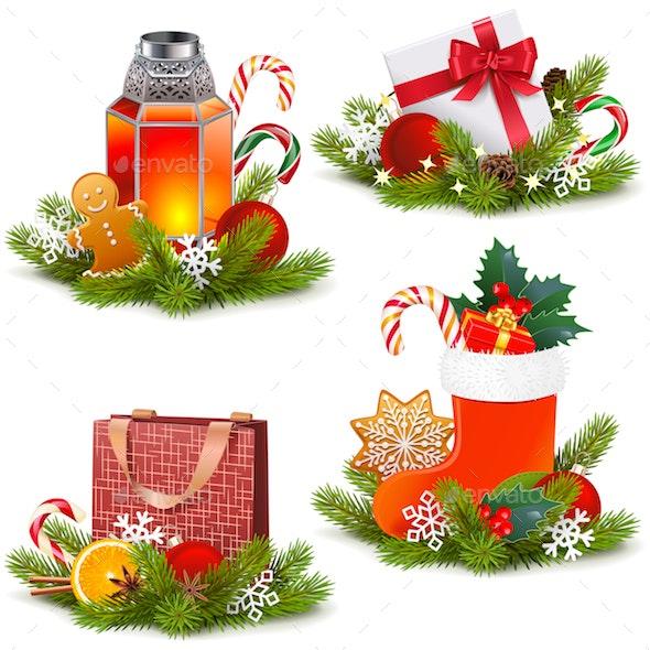 Vector Christmas Concept Icons - Christmas Seasons/Holidays