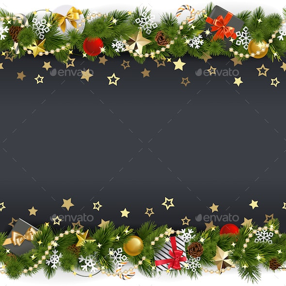 Vector Christmas Background with Stars and Gifts - Christmas Seasons/Holidays