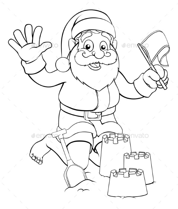 Santa on Beach Making Sandcastles - Christmas Seasons/Holidays