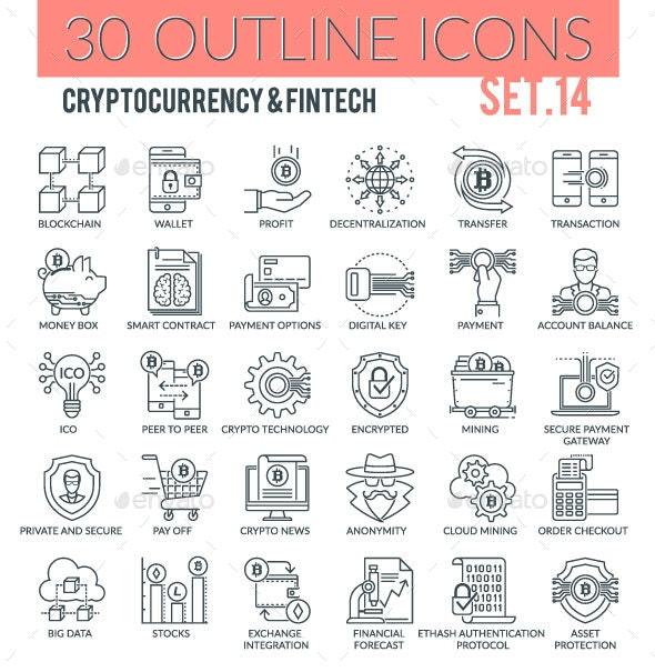 Cryptocurrency and Fintech Outline Icons - Technology Icons