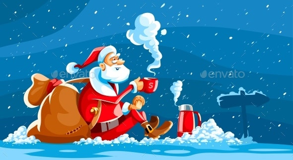 Christmas Holiday Santa Claus Sits on Snow - Christmas Seasons/Holidays