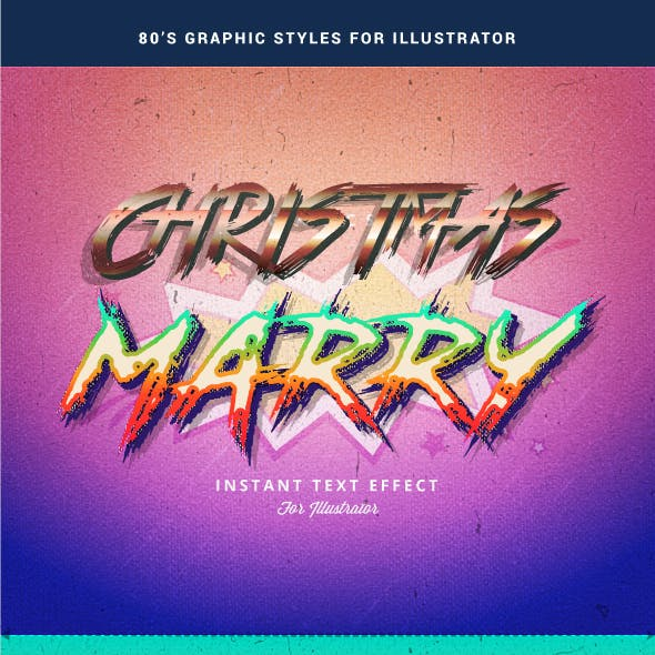 Retro 80's Text Effect for Adobe Illutrator