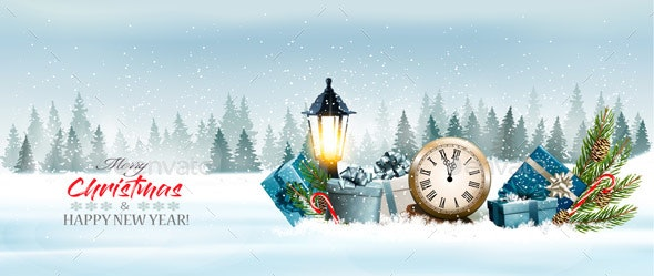 Christmas Holiday Background With Presents and a Clock - Christmas Seasons/Holidays