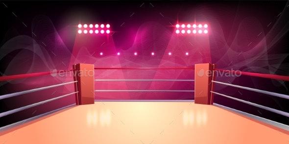 Vector Background of Boxing Ring Illuminated - Backgrounds Decorative