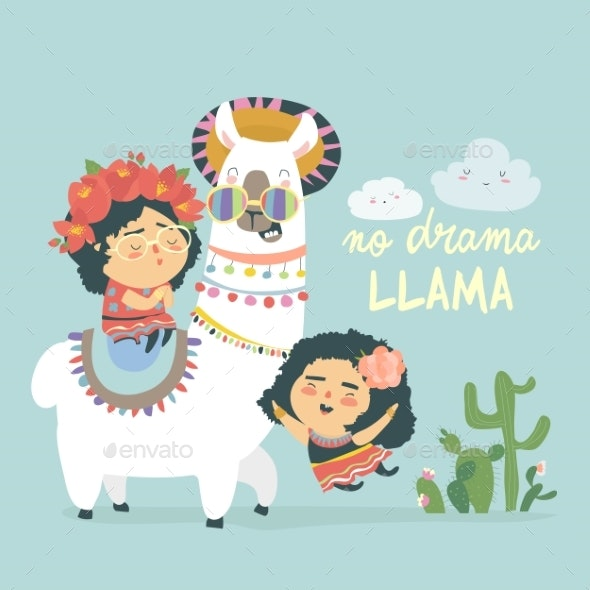 Llama Alpaca with Girls - Animals Characters