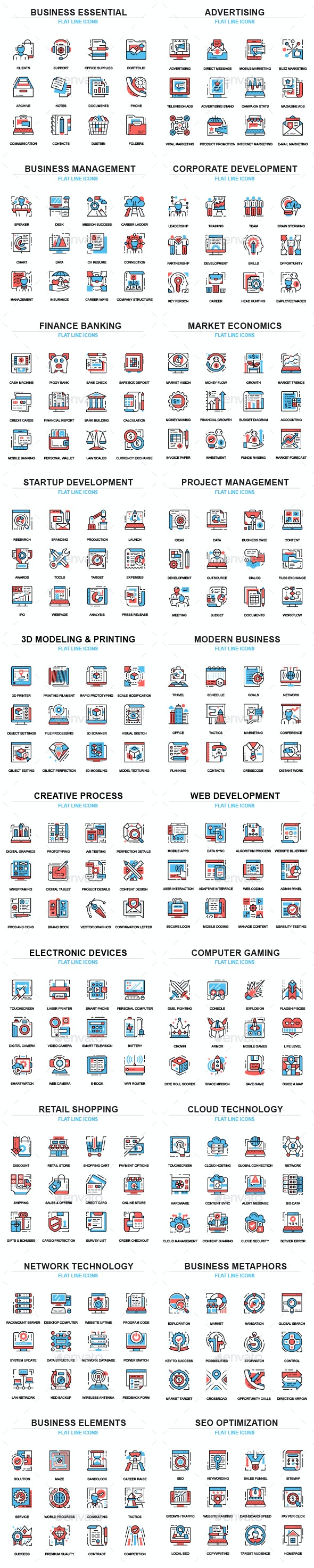 Set of Thin Line Business Icons - Icons