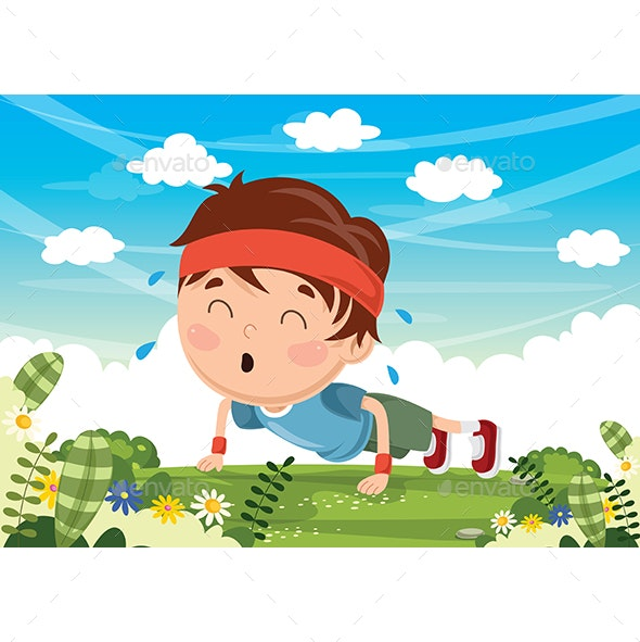 Vector Illustration Of Kid Pushing Up - Sports/Activity Conceptual