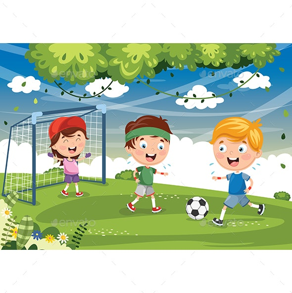 Vector Illustration Of Kid Playing Football - Sports/Activity Conceptual