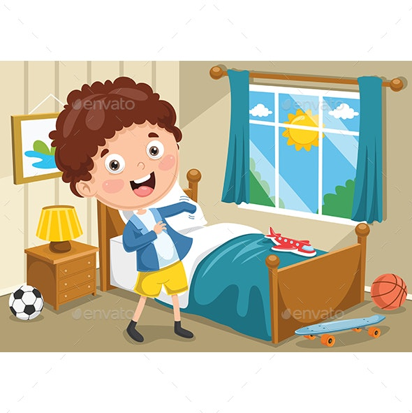 Vector Illustration Of Kid Wearing Clothes - People Characters
