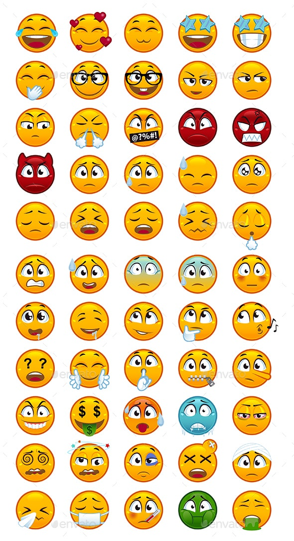 55 Emojis Pack 2 - Miscellaneous Characters