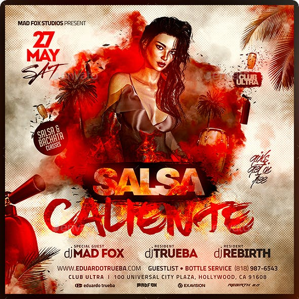 Latin Night Salsa Caliente Party Flyer