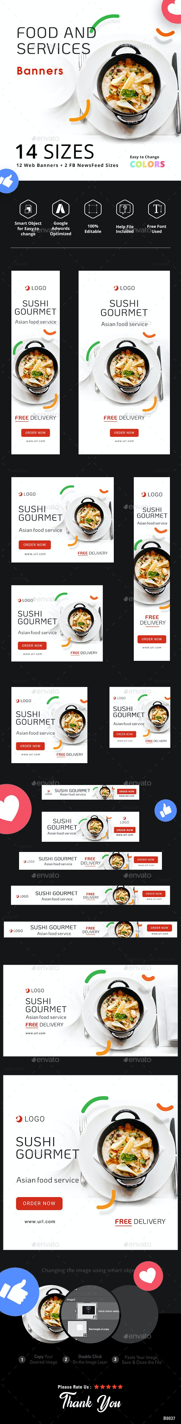 Food and Services Web Banner Set - Banners & Ads Web Elements