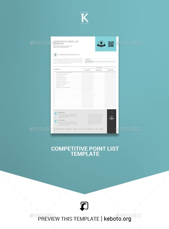 Competitive Point List Template - Miscellaneous Print Templates