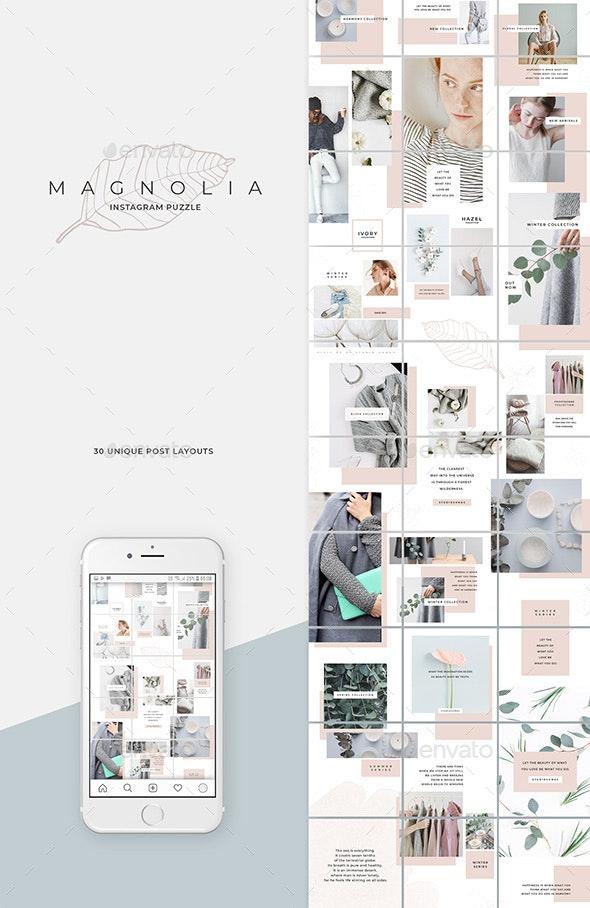 Magnolia Instagram Puzzle Template - Social Media Web Elements