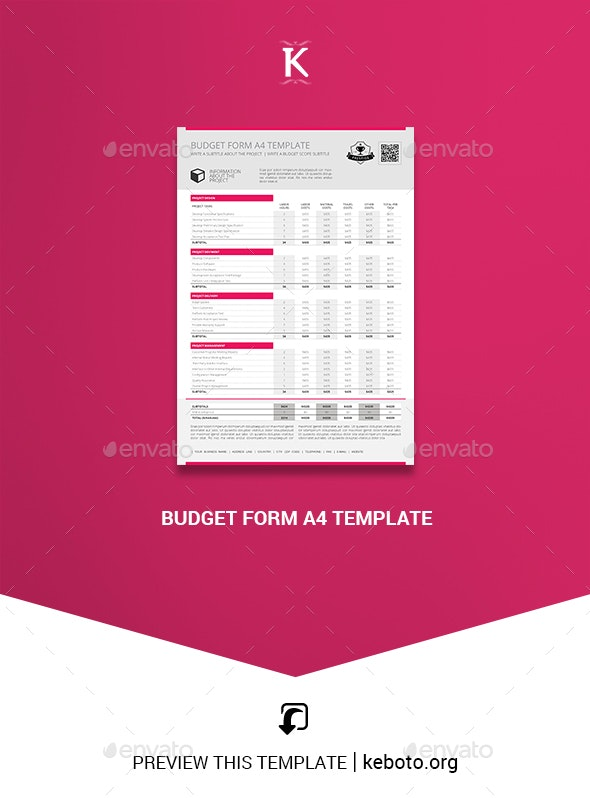 Budget Form A4 Template - Miscellaneous Print Templates