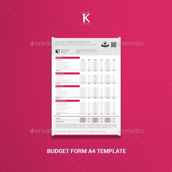 Budget Form A4 Template