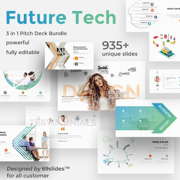 Future Tech 3 in 1 Pitch Deck Bundle Powerpoint Template