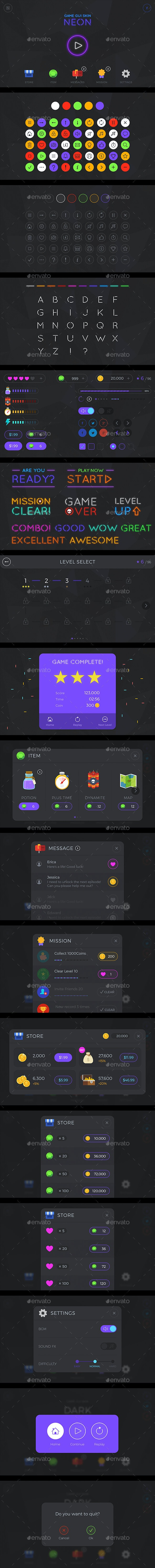 GUI Kit Neon - User Interfaces Game Assets