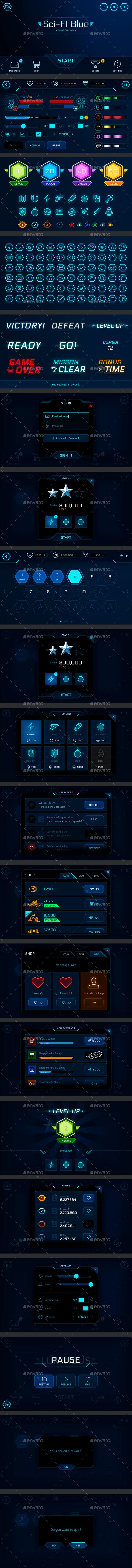 GUI Kit Sci-Fi Blue - User Interfaces Game Assets