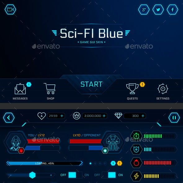 GUI Kit Sci-Fi Blue