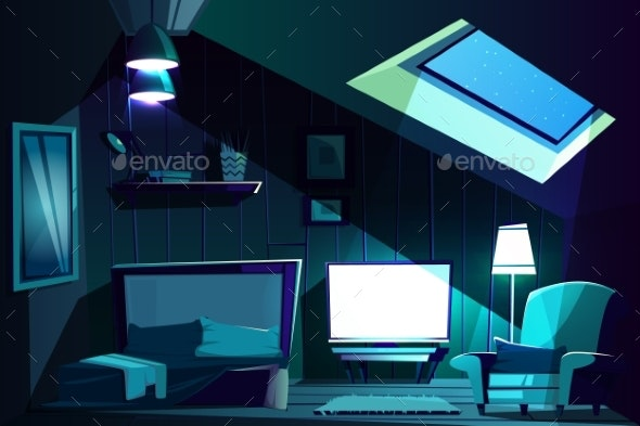 Vector Attic Room at Night - Backgrounds Decorative