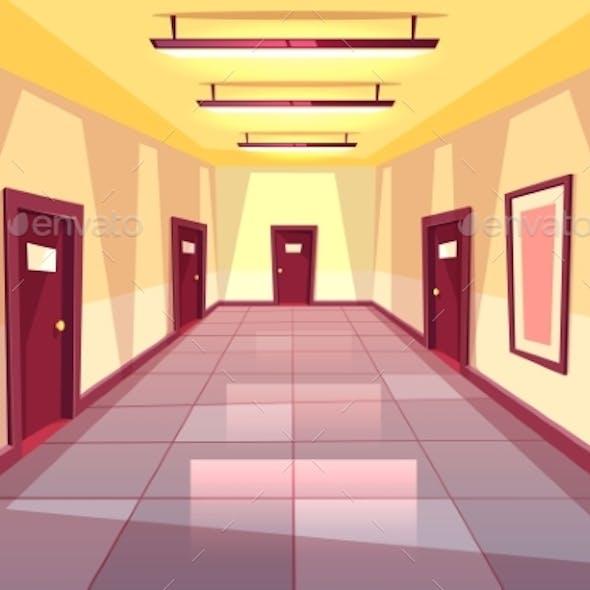 Vector Cartoon Hallway, Corridor with Many Doors