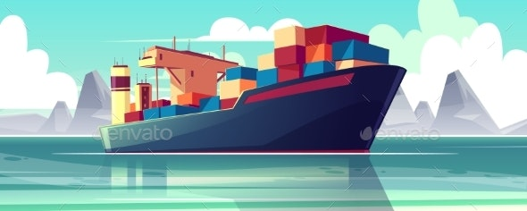 Vector Dry-Cargo Ship at Sea - Man-made Objects Objects