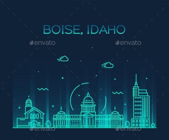 Boise Idaho Skyline USA Vector Linear Style City - Buildings Objects