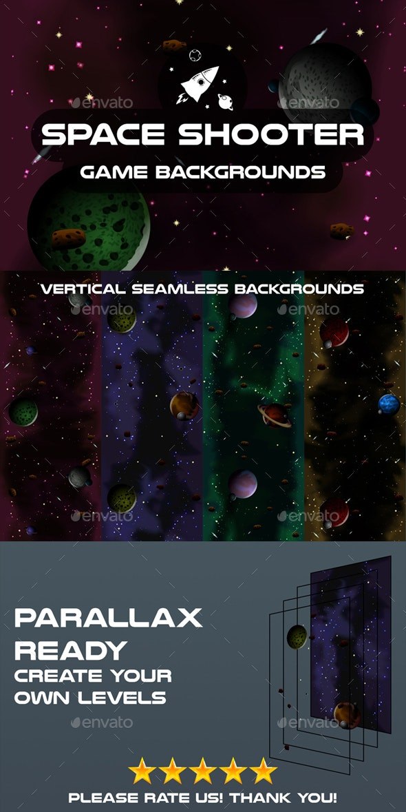 Space Shooter 2D Backgrounds - Backgrounds Game Assets