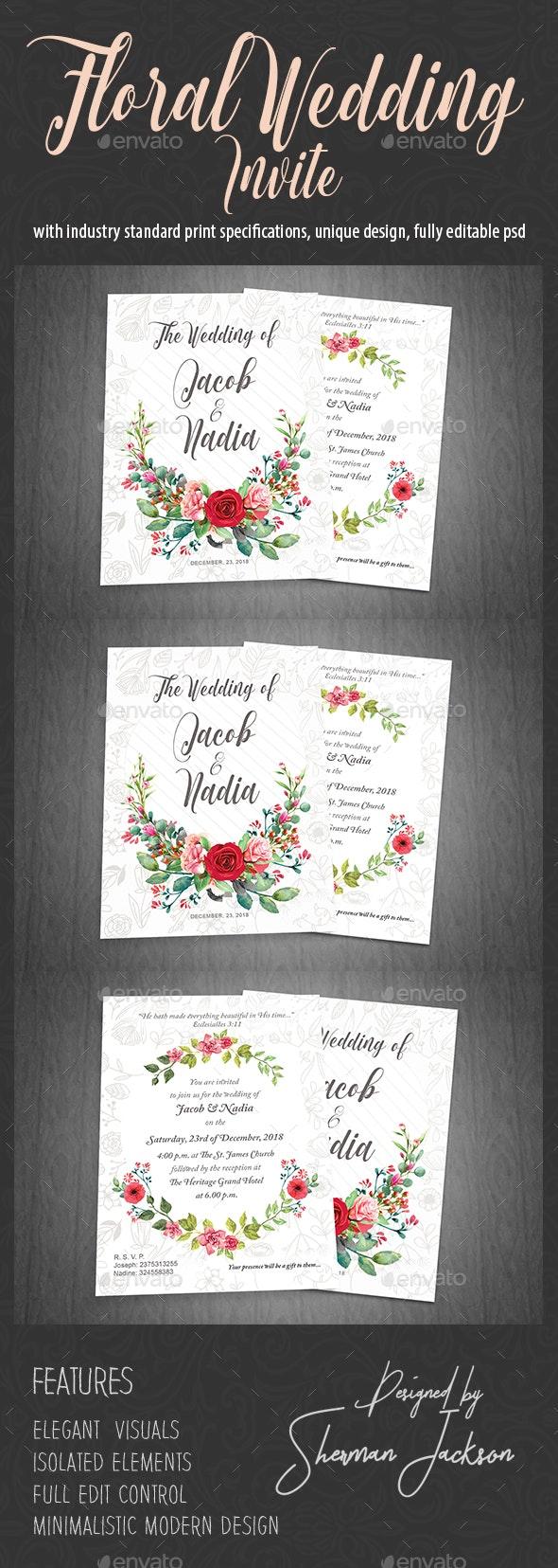 Floral Wedding Invite - Weddings Cards & Invites