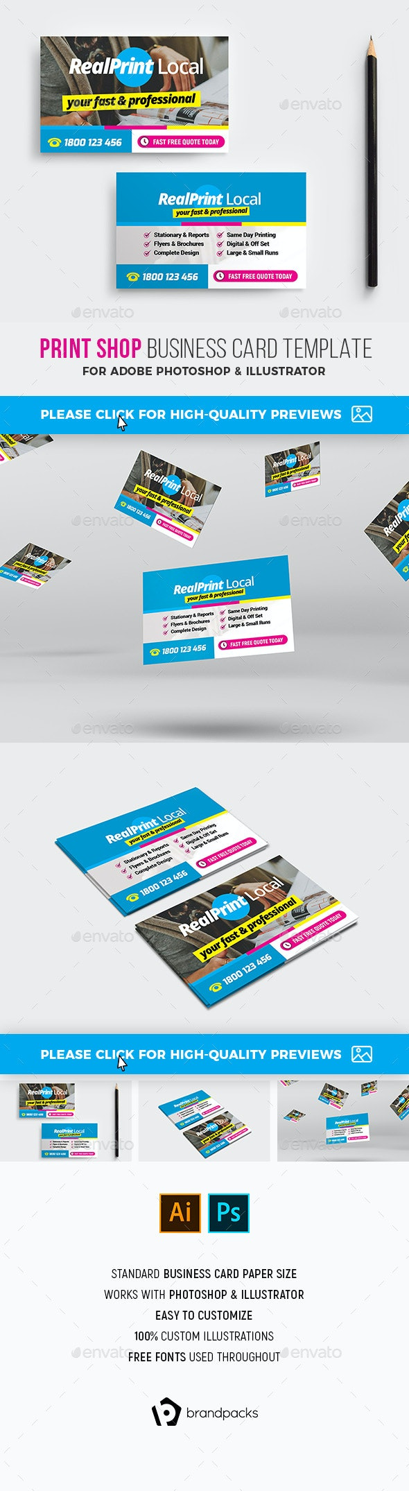 Print Shop Business Card - Industry Specific Business Cards
