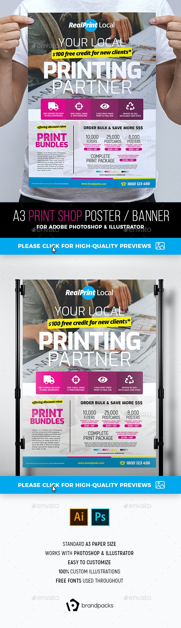 Print Shop Poster / Banner - Commerce Flyers