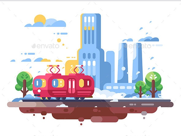 Retro Tram on Cityscape Background - Buildings Objects