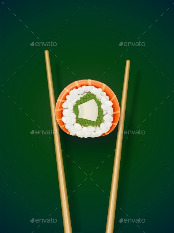 Sushi Rolls with Chopstick - Food Objects