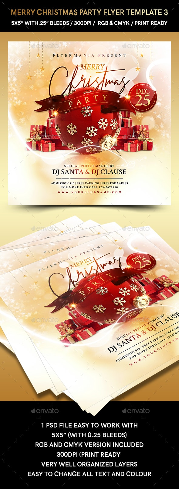 Merry Christmas Party Flyer Template 3 - Holidays Events
