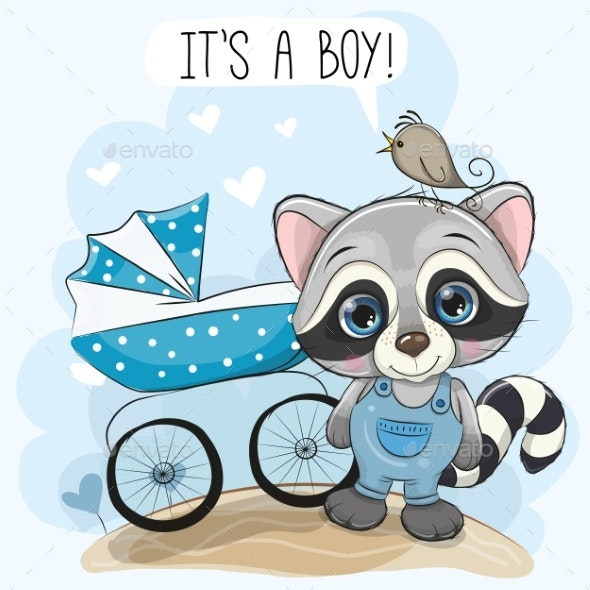 Greeting Card Its a Boy with Baby Carriage - People Characters
