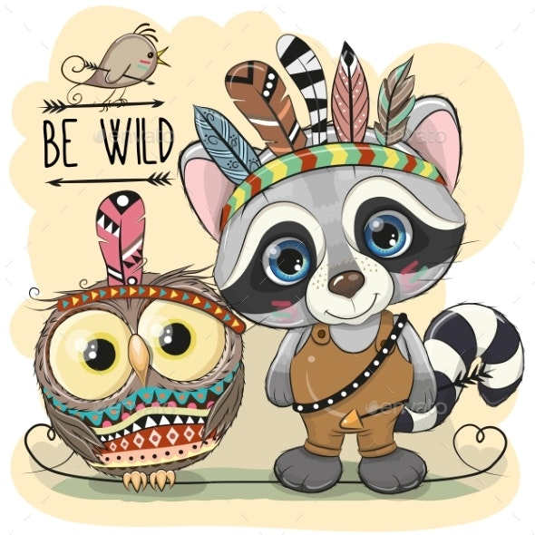 Tribal Raccoon and Owl with Feathers - Animals Characters