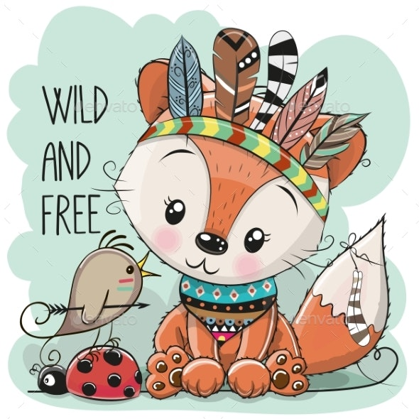 Tribal Fox and Bird with Feathers - Animals Characters