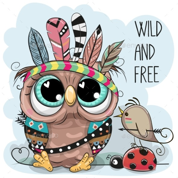 Tribal Owl and Bird with Feathers - Animals Characters
