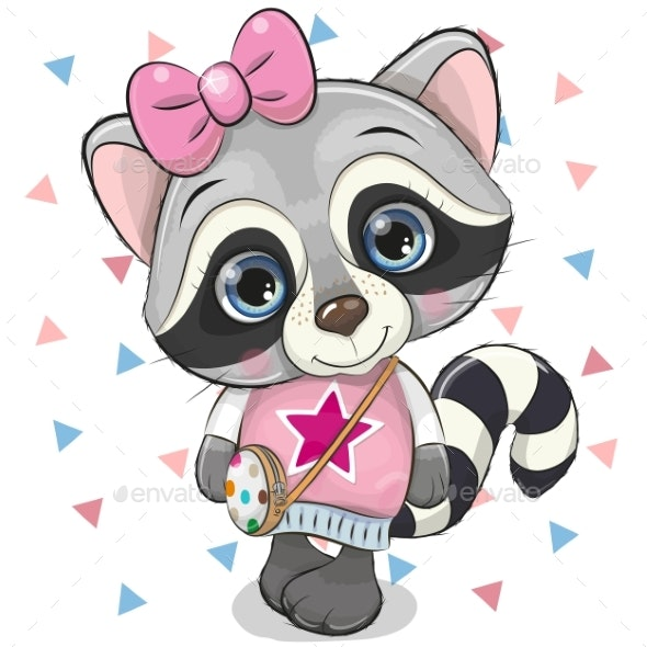 Raccoon with a Bow on a White Background - Animals Characters