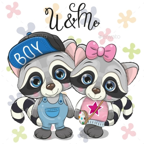 Two Raccoons on a Flowers Background - Animals Characters
