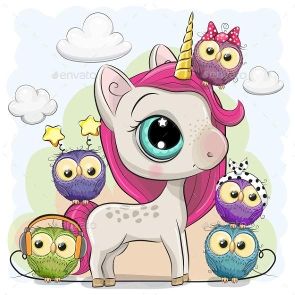 Cartoon Unicorn and Five Owls - Animals Characters