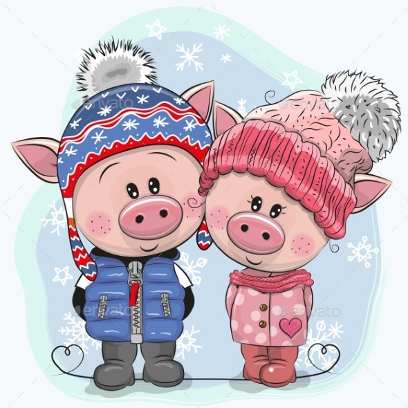 Winter Illustration Pigs Boy and Girl in Hats - People Characters