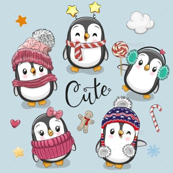 Set of Cartoon Christmas Penguins - Animals Characters
