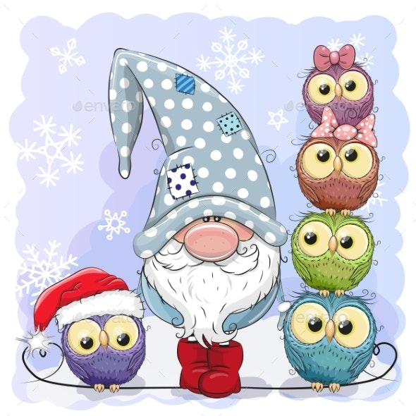 Cartoon Gnome and Owls Blue Background - Seasons/Holidays Conceptual