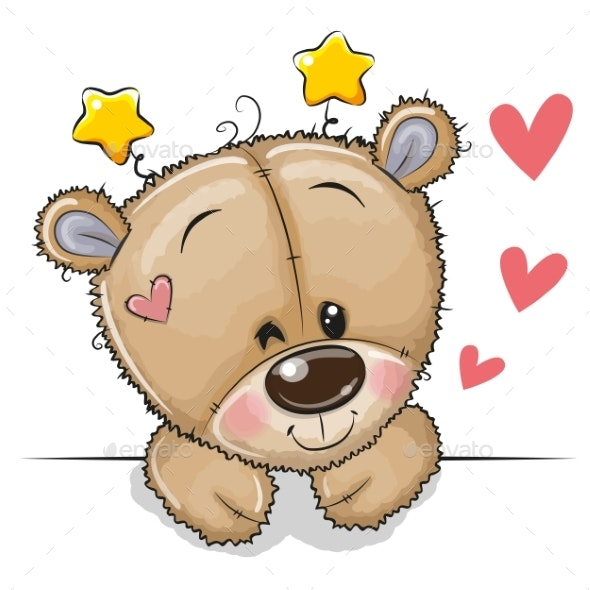 Teddy Bear on a White Background - Animals Characters