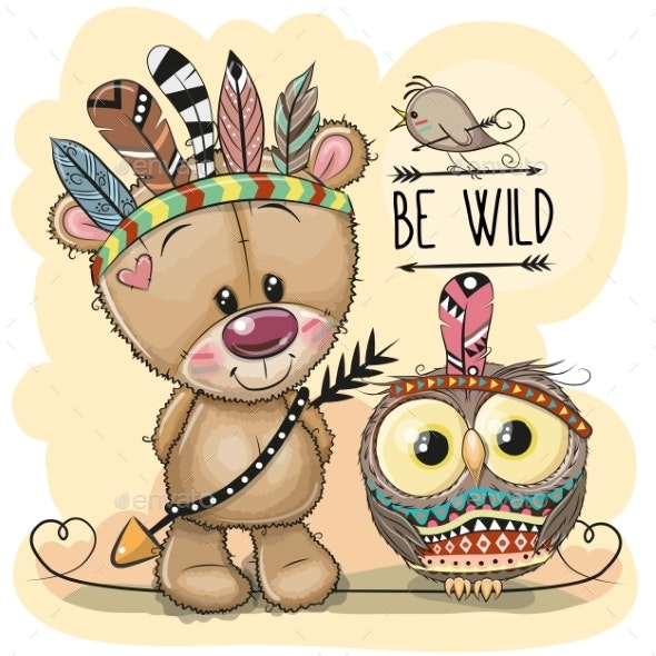 Tribal Teddy Bear and Owl with Feathers - Animals Characters