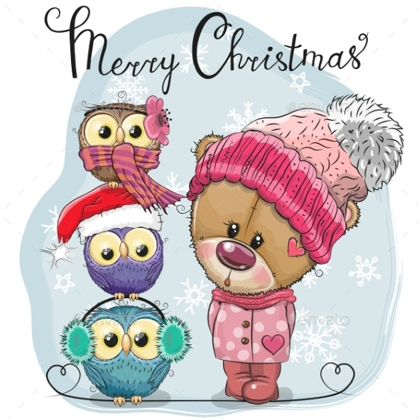 Greeting Christmas Card Cute Teddy Bear and Three - Animals Characters