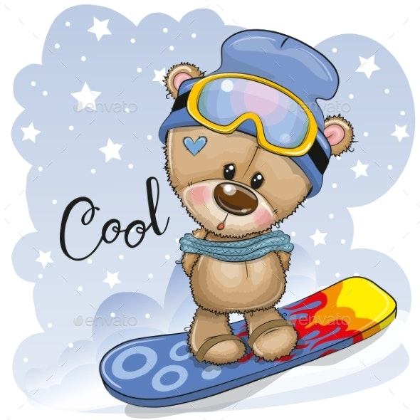 Cartoon Bear on a Snowboard - Animals Characters